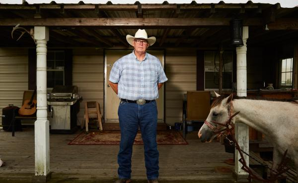 Tommy Chreene with his horse, Lady, at home in Meaux, La. Chreene spent 26 years working on offshore oil rigs in the Gulf of Mexico. While working on the Ursa project, he was part of a program designed to get the workers to open up emotionally with one an
