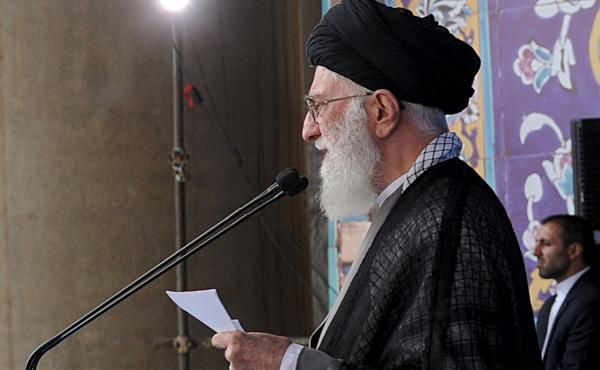 Iran's Supreme Leader Ayatollah Ali Khamenei delivers a sermon during morning prayers for the Eid al-Fitr holiday, marking the end of the holy month of Ramadan. He signaled his approval of the nuclear agreement with Western powers but reiterated that Tehr