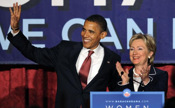 Sen. Barack Obama, as Democratic presidential candidate, and former candidate Sen. Hillary Clinton appear together at a Women For Obama fundraiser New York, July, 2008.