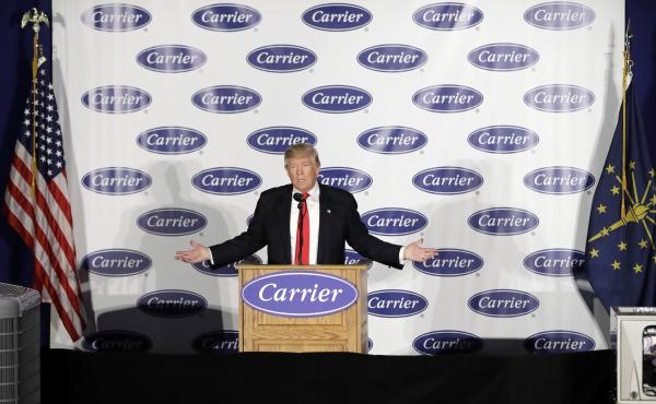 President-elect Donald Trump speaks at Carrier Corp. on Thursday, in Indianapolis.