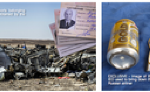 Two photographs published in a monthly propaganda magazine published by the Islamic State.