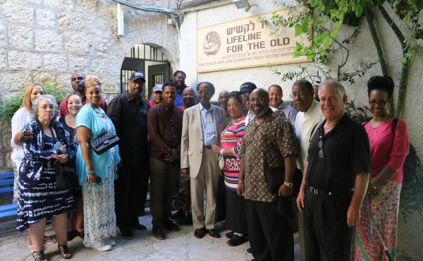 African-American evangelical leaders visited a Jerusalem crafts workshop for elderly Israelis, a project supported by the International Fellowship of Christians and Jews. The group and Israel's tourism ministry sponsored the pastors' trip to Israel, part
