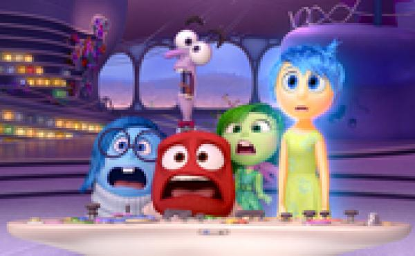 The new animated Disney/Pixar film Inside Out takes us inside the mind of an 11-year-old girl — a mind controlled by five emotions, each voiced by a different actor. From left: Sadness, Anger, Fear (behind Anger), Disgust and Joy.