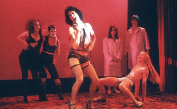 Tim Curry performs in a staging of The Rocky Horror Show in the 1970s.