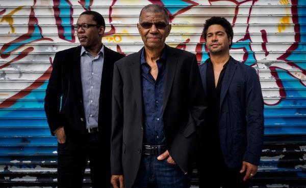 Jack DeJohnette (center) is pictured with Ravi Coltrane and Matt Garrison, who join him on the new album In Movement.