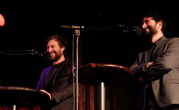 Mark (left) and Jay (right) Duplass on Ask Me Another.