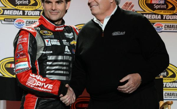 NASCAR Sprint Cup Series driver Jeff Gordon, left, says he won't race full-time after the 2015 season. Here, Gordon shakes hands with long-time team owner Rick Hendrick last year.