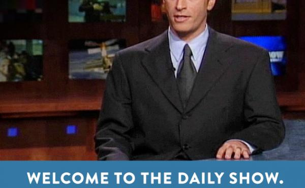 An image from Jon Stewart's first appearance as host of Comedy Central's The Daily Show.