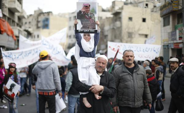 Jordanians marched in the streets of the capital Amman on Feb. 6 to show solidarity with the family of a pilot killed by the Islamic State in Syria. Jordanians also expressed support for the king's decision to take part in the U.S.-led coalition against I