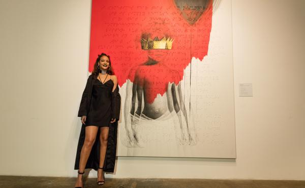 Rihanna poses at the album artwork reveal for ANTI in Los Angeles.
