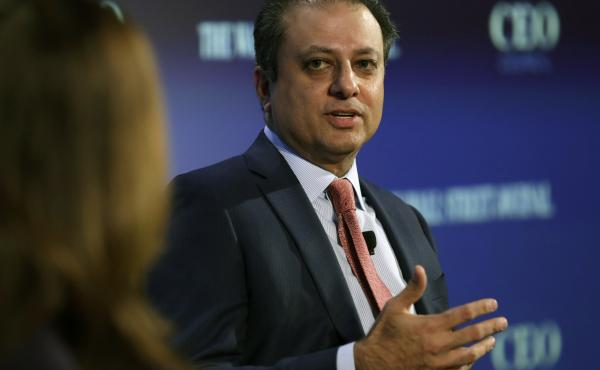 Preet Bharara, the now former U.S. Attorney for the Southern District of New York, speaks at the Wall Street Journal CEO council annual meeting in Washington on November 15, 2016.