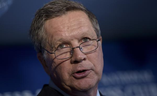Ohio Governor John Kasich speaking at the National Press Club Tuesday.
