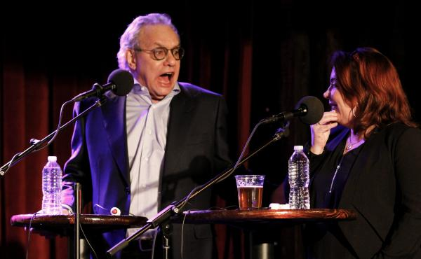 Kathleen Madigan with surprise contestant Lewis Black on Ask Me Another.