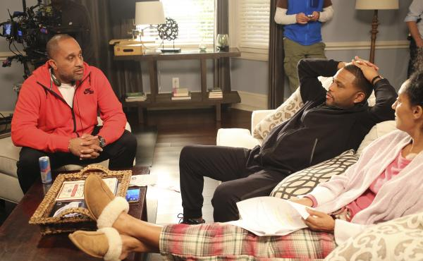 Barris talks to actors Anthony Anderson and Tracee Ellis Ross on the set of Black-ish. Anderson plays Dre, an advertising executive, and Ross plays his wife, Rainbow, who's a doctor.