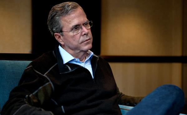 Republican presidential candidate Jeb Bush speaks with NPR's Steve Inskeep on Wednesday in Boston.