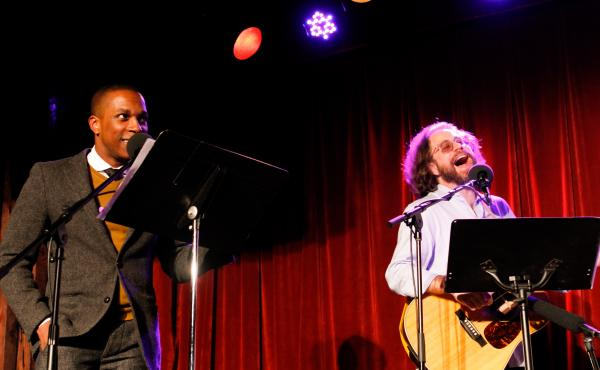 Leslie Odom Jr. with Jonathan Coulton on Ask Me Another.