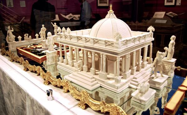 """One of the main attractions in """"The Edible Monument"""" exhibition at the Getty Center in Los Angeles is a nine-foot long sugar palace showing the Greek sorceress Circe meeting Odysseus' men."""