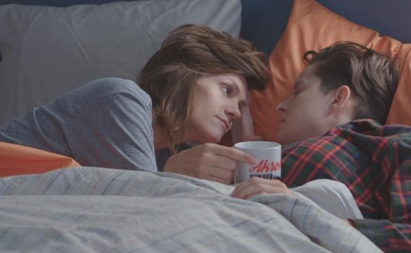 Cameron Esposito (left) and her wife Rhea Butcher play married comedians in their new show Take My Wife.