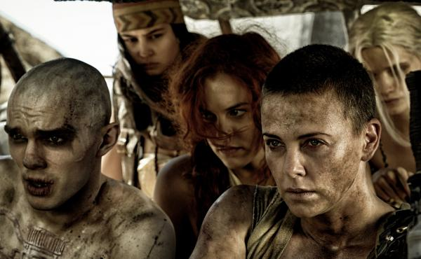 Furiosa (played by Charlize Theron, front right) fights to liberate the wives of a tyrannical warlord in Mad Max: Fury Road.