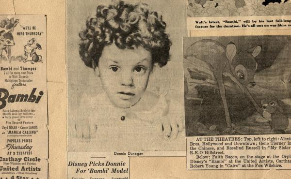 Newspaper clippings of young Donnie Dunagan from the early '40s.