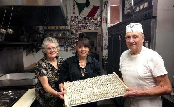 Mary Cittoni, Joanne Cittoni Gonzalez and Clemente Cittoni work together, making malfatti in the kitchen of Val's Liquor in Napa.