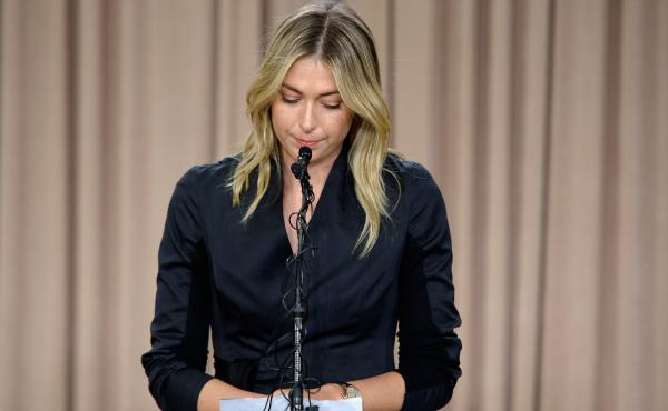 Maria Sharapova talks to the media in Los Angeles on Monday regarding a failed drug test.