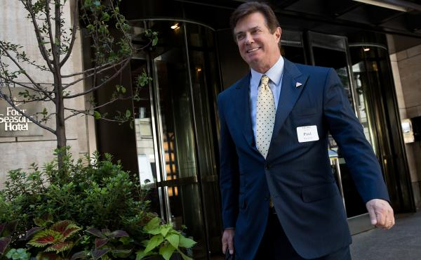Paul Manafort leaves the Four Seasons Hotel after a meeting with Donald Trump and Republican donors last month in New York City.