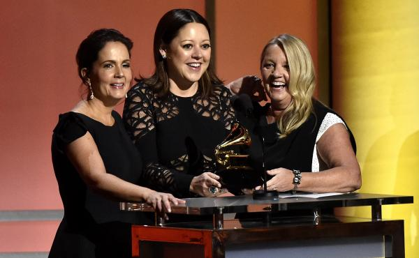 "Hillary Lindsey (center), with songwriting partners Lori McKenna (left) and Liz Rose (right). In February, their song ""Girl Crush"" received a Grammy award for Best Country Song."