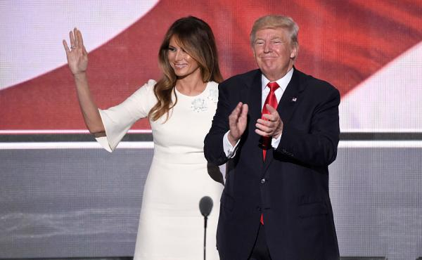Melania Trump stands beside her husband, GOP presidential nominee Donald Trump, at the Republican National Convention in Cleveland in July.