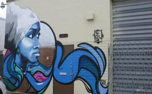 The graffiti artist, Trek6, painted the Yoruba goddess of the ocean, Yemaya, to honor his Caribbean roots. She symbolizes growth, something that he thinks Hialeah needs.