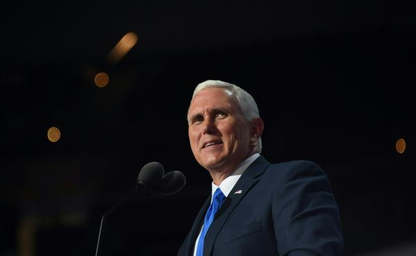Vice presidential candidate Mike Pence addresses delegates on Wednesday evening at the Republican National Convention.