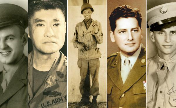 Members of the U.S. military who were exposed to mustard gas in secret experiments during World War II (from left): Harry Maxson, Louis Bessho, Rollins Edwards, Paul Goldman and Sidney Wolfson.