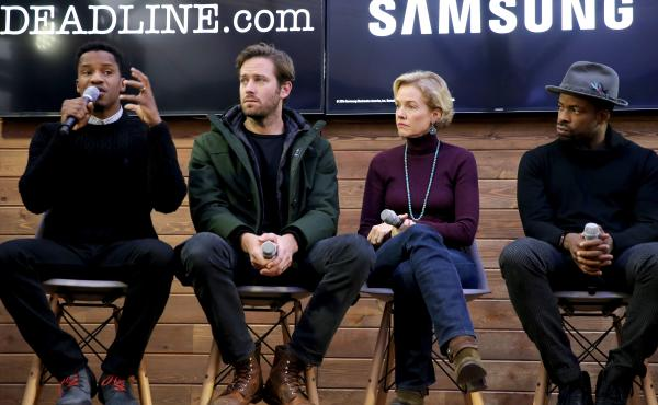 Director Nate Parker, actors Armie Hammer, Penelope Ann Miller, and Chike Okonkwo discuss 'The Birth of a Nation' at the Deadline.com panel at The Samsung Studio during The Sundance Festival 2016.