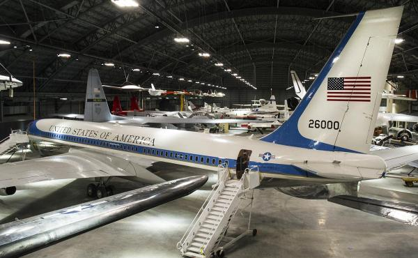 The Boeing VC-137C SAM 26000 at the National Museum of the United States Air Force. When presidents from John F. Kennedy to Bill Clinton were aboard, it was also known as Air Force One.