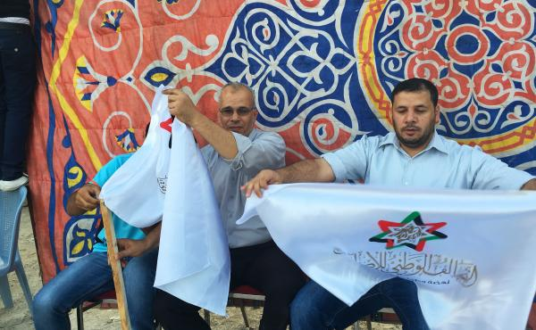 Muslim Brotherhood campaign volunteers work at an election rally in Zarqa, Jordan, in September 2016. The brotherhood's political wing fielded candidates under a coalition that included Christians and ethnic minorities. The group is now the biggest bloc i