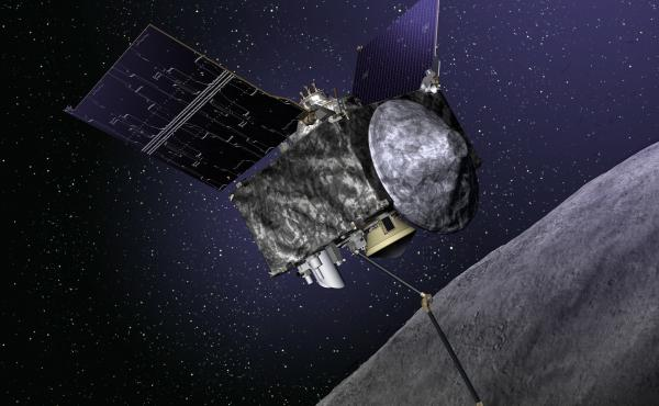 An illustration of OSIRIS-REx, a collection of sensors, imaging devices and sample collectors, on its way to encounter the asteroid named Bennu.