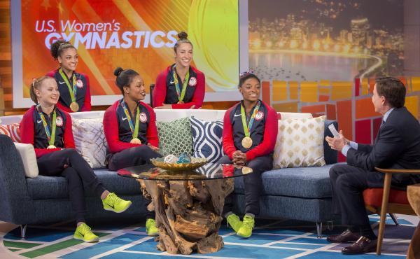 NBC's Bob Costas interviews the gold-medal winning U.S. gymnastics team in Rio on Aug. 9: Madison Kocian (from left), Laurie Hernandez, Gabby Douglas, Aly Raisman, Simone Biles. NBC broadcast more than 6,000 hours from the games on various platforms, but