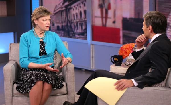 Cokie Roberts talks about her book Capital Dames on ABC's Good Morning America with George Stephanopoulos last April. Roberts left her position as a full-time staffer at NPR in 1992 but has regularly appeared on the air as a commentator.