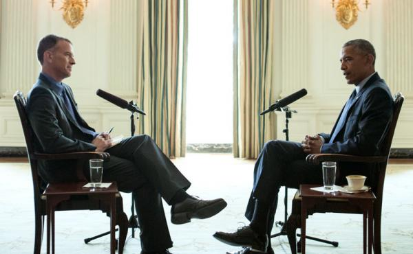 President Obama is interviewed by Steve Inskeep at the White House on Monday.