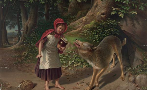 "In ""Little Red Riding Hood,"" a young girl and her grandmother are attacked by a wolf, seen in this 1870s illustration by Alfred L. Sewell. In the NRA version, Red wards off the wolf with a rifle."