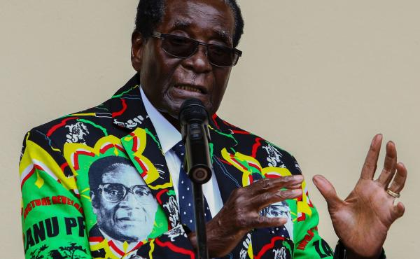 """Zimbabwe's President Robert Mugabe, who turns 93 on Tuesday, speaks at his party's annual conference in December, where he was endorsed as a candidate for the 2018 election. His wife said last week that even if he dies before the election, he should run """""""