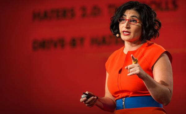 Negin Farsad on the TED stage at TED2016 in Vancouver, Canada.