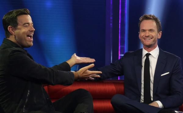 Carson Daly jokes with host Neal Patrick Harris during last night's premiere episode of NBC's Best Time Ever with Neil Patrick Harris.