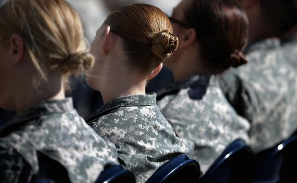 "Soldiers, officers and civilian employees attend a ceremony for the U.S. Army's annual observance of Sexual Assault Awareness and Prevention Month in March 2015 in Arlington, Virginia. According to the Pentagon, the initiative is ""meant to reinforce a cli"