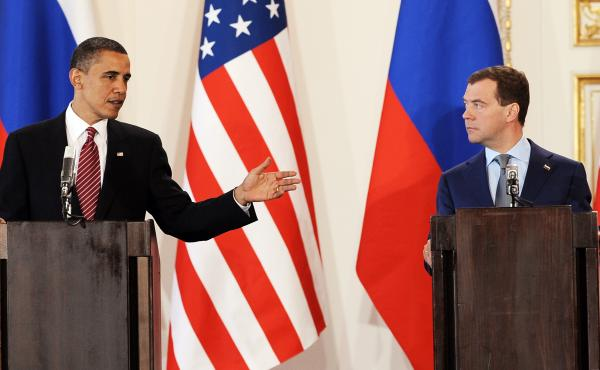 President Obama speaks beside Russian President Dmitry Medvedev after signing New START documents in 2010. Now five years old, that treaty has taken on renewed relevance in light of the framework nuclear deal between the U.S. and Iran.