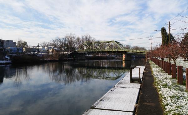 Locals in Seneca Falls, N.Y., say this bridge in their small town was the model for the bridge in the fictional Bedford Falls in Frank Capra's It's A Wonderful Life, where George Bailey (played by Jimmy Stewart) thinks about ending his life.