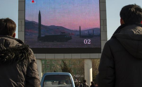 People watch news footage of a missile launch outside the main railway station in Pyongyang earlier this month. A North Korean missile test failed just moments after launch Wednesday, according to the U.S. and South Korea.
