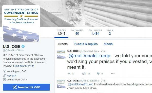 U.S. Office of Government Ethics tweeted at Donald Trump about an alleged plan to divest businesses.