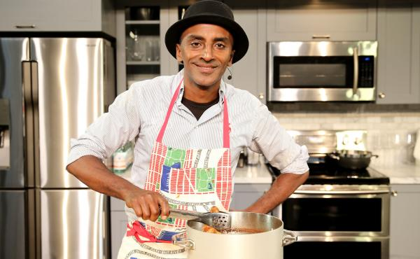 Chef Marcus Samuelsson does a culinary demonstration at the New York City Wine & Food Festival in October 2015.