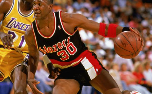 Terry Porter of the Portland Trail Blazers drives against the Los Angeles Lakers during a game in April 1988 in Los Angeles.